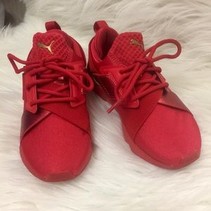 NWOT Puma Red / Gold Kids (Girl) Sneakers